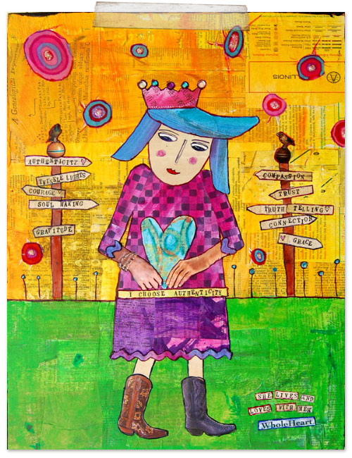 "A woman in a purple dress and brown cowboy boots carries a blue heart in her arms with the words ""She lives and love wtih a whole heart"" at the bottom right of the paintin."